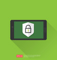 mobile phone with shield padlock protection sign vector image