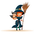mother with son in halloween costume flat poster vector image