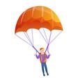 orange parachute icon cartoon style vector image vector image