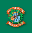 outdoor adventure papercut backpack and guitar vector image vector image