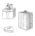 Pen vintage sketch - hand drawn gift boxes vector image