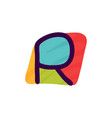 r letter logo in kids paper applique style vector image vector image