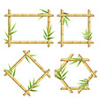 realistic 3d detailed bamboo shoots frames set vector image
