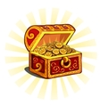 Red glowing open chest with gold coins vector image vector image