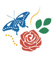 red rose and blue butterfly full color flower vector image vector image