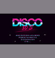 retrowave synthwave font in 1980s style vector image vector image