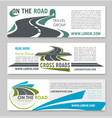 road travel banner template for tourism design vector image vector image