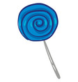 round blue lollipop with grey stick or color vector image vector image