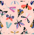 seamless pattern with colorful butterflies and vector image
