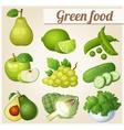 set cartoon food icons green food pear lime vector image vector image