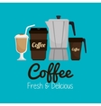 set icon coffee hot and fresh graphic vector image vector image