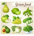 Set of cartoon food icons Green food Pear lime vector image vector image