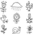 Set of spring item doodles vector image vector image