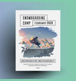 snowboarding camp flyer or poster design template vector image
