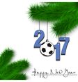 Soccer ball and 2017 on a Christmas tree branch vector image vector image