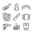 solder icons set on white background line style vector image vector image