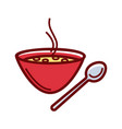 soup bowl and spoon vector image