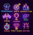 sport neon label set vector image vector image