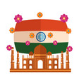 taj mahal indian mosque with flag and flowers vector image vector image