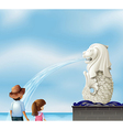 Two kids near the statue of Merlion vector image