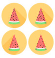 watermelon slices set in flat style with circles vector image