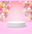 white round podium pedestal scene with pink vector image