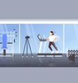woman blogger running on treadmill recording video vector image vector image