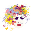 Woman face flowers vector image vector image