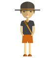 young man cartoon character wearing summer clothes vector image