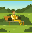 young man sitting on the bench in the park using vector image