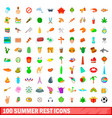100 summer rest icons set cartoon style vector image vector image