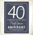 40 years anniversary background vector image vector image
