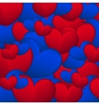 Background of blue and red hearts