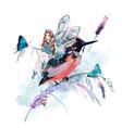 beautiful girl fairy sitting on bird vector image