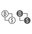 bitcoin vs dollar line and glyph icon finance vector image vector image
