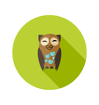Brown Owl Flat Icon with Hearts over Green vector image vector image