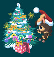 cartoon cute happy dog decorating christmas tree vector image vector image