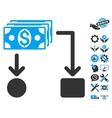Cashflow Flat Icon With Tools Bonus vector image vector image