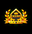 casino and playing card symbol banner with ribbon vector image vector image