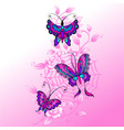 cobweb roses and butterflys vector image vector image
