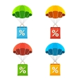 colorful parachute with paper bag sale icon vector image vector image