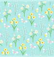 easter flower and butterfly pattern on blue vector image
