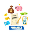 finance poster with money banking card and report vector image vector image