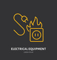 fire extinguisher flat line sign of electrical vector image vector image