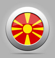 flag of macedonia shiny metal gray round button vector image vector image