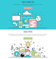 flat line design style digital marketing and vector image