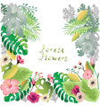 forest flowers and leaves background template vector image vector image