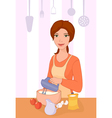 Girl cooking vector image
