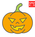 halloween pumpkin color line icon vector image vector image