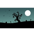 Halloween tomb and dry tree silhouette vector image vector image